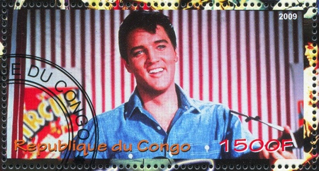 elvis: CONGO - CIRCA 2009: stamp printed by Congo, shows Elvis Aaron Presley, circa 2009
