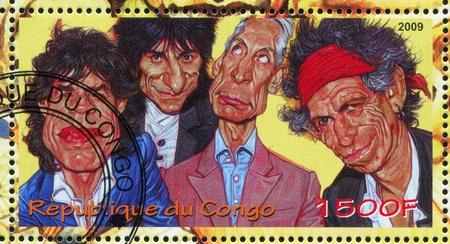 rey caricatura: CONGO - CIRCA 2009: sello impreso por el Congo, muestra Rolling Stones, alrededor del año 2009 Editorial