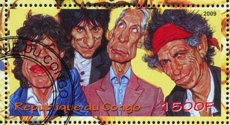 rolling: CONGO - CIRCA 2009: stamp printed by Congo, shows Rolling Stones, circa 2009