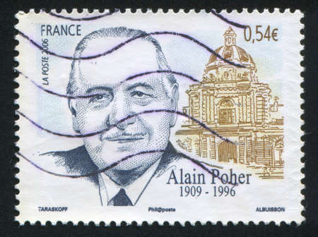 FRANCE - CIRCA 2006: stamp printed by France, shows Alain Poher, politician and Senate building, circa 2006 Stock Photo - 12339895