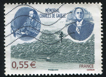 gaulle: FRANCE - CIRCA 2008: stamp printed by France, shows Charles de Gaulle Memorial, circa 2008