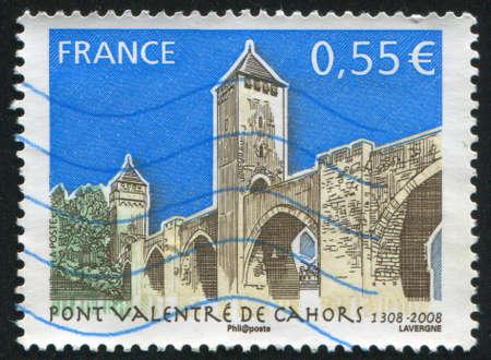 window seal: FRANCE - CIRCA 2008: stamp printed by France, shows bridge Valentre de Cahors, circa 2008