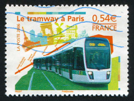 FRANCE - CIRCA 2006: stamp printed by France, shows Opening of new Paris tramway, circa 2006