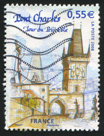 FRANCE - CIRCA 2008: stamp printed by France, shows Prague - Charles Bridge, circa 2008 Stock Photo - 12396721