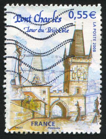 FRANCE - CIRCA 2008: stamp printed by France, shows Prague - Charles Bridge, circa 2008 Stock Photo - 12396721