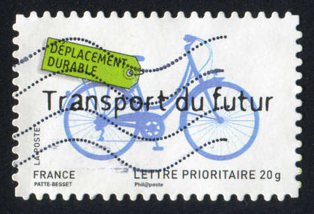 FRANCE - CIRCA 2008: stamp printed by France, shows bicycle  future transport, circa 2008 photo