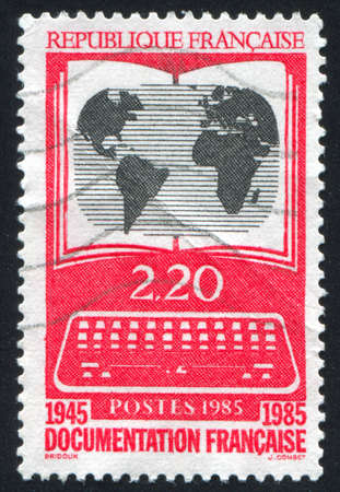 informational: FRANCE - CIRCA 1985: stamp printed by France, shows national  informational system, circa 1985