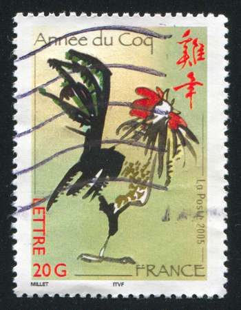 FRANCE - CIRCA 2005: stamp printed by France, shows cock circa 2005 photo