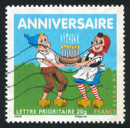FRANCE - CIRCA 2007: stamp printed by France, shows boy and girl, circa 2007