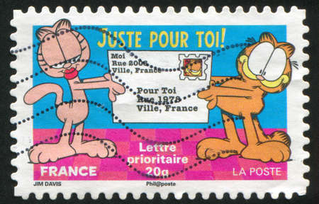 FRANCE - CIRCA 2008: stamp printed by France, shows Garfield, circa 2008 Stock Photo - 12354841