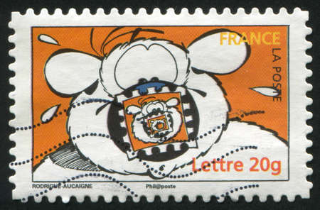 unexpectedness: FRANCE - CIRCA 2006: stamp printed by France, shows Cubitus, by Michel Rodrigue and Pierre Aucaigne, circa 2006