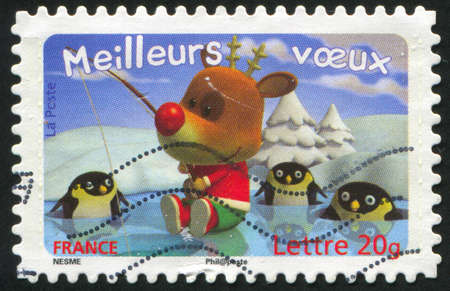 FRANCE - CIRCA 2007: stamp printed by France, shows deer and penguins, circa 2007