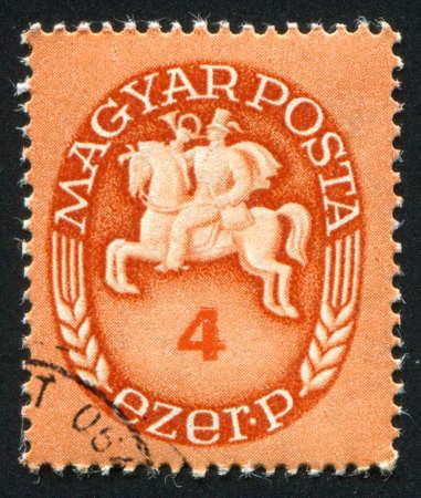 HUNGARY - CIRCA 1946: stamp printed by Hungary, shows Postrider, circa 1946 photo