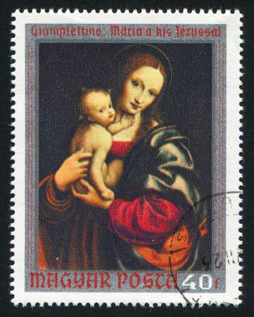 HUNGARY  CIRCA 1970: stamp printed by Hungary, shows Virgin and Child, by Giampietrino, circa 1970