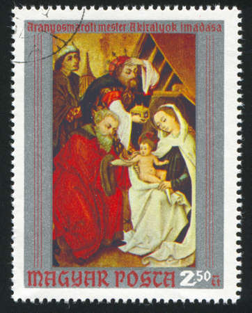 piety: HUNGARY   CIRCA 1970: stamp printed by Hungary, shows Adoration of the Kings, by Master of Aranyosmarot, circa 1970 Editorial