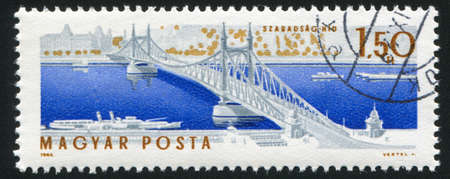 elisabeth: HUNGARY CIRCA 1964: stamp printed by Hungary, shows Elisabeth bridge in Budapest, circa 1964 Stock Photo