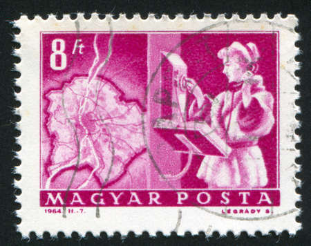 catenation: HUNGARY – CIRCA 1964: stamp printed by Hungary, shows Map of Budapest and automatic dial phone, circa 1964