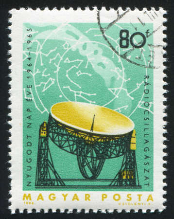 HUNGARY  CIRCA 1965: stamp printed by Hungary, shows Satellite, earth and planets space research, circa 1965 photo