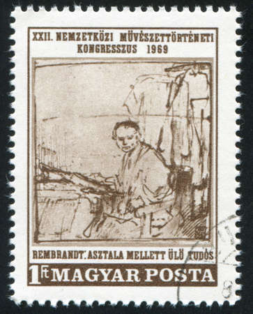 REMBRANDT: HUNGARY – CIRCA 1969: stamp printed by Hungary, shows picture The Scholar, by Rembrandt, circa 1969, circa 1969