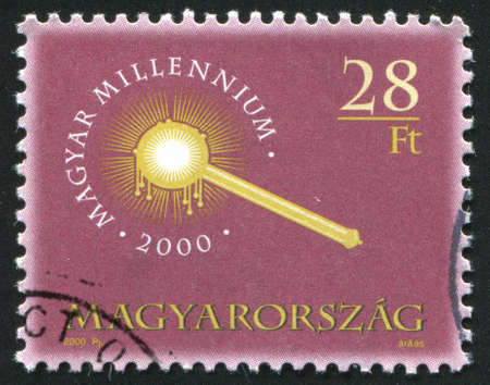scettro: UNGHERIA CIRCA 2000: timbro stampato da Ungheria, mostra scettro Coronation, intorno al 2002