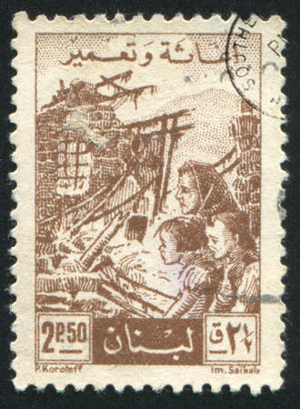 LEBANON - CIRCA 1956: stamp printed by Lebanon, shows Family among Ruins, circa 1956 photo