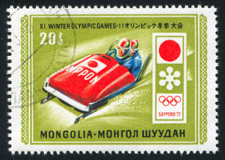 bobsled: MONGOLIA - CIRCA 1972: stamp printed by Mongolia, shows  bobsled, circa 1972