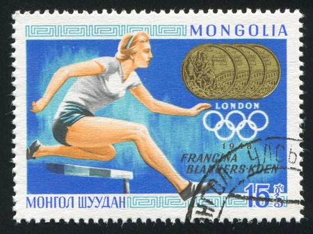 fanny: MONGOLIA - CIRCA 1968: stamp printed by Mongolia, shows runner, Fanny Blankers-Koen, circa 1968