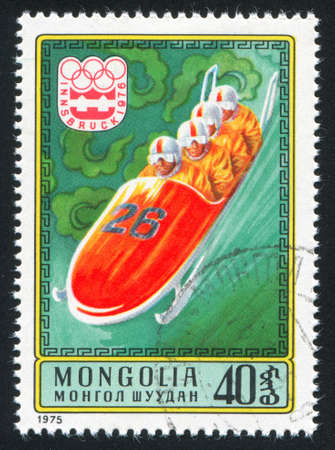 bobsled: MONGOLIA - CIRCA 1975: stamp printed by Mongolia, shows  bobsled, circa 1975