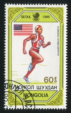 MONGOLIA - CIRCA 1989: stamp printed by Mongolia, shows runner, circa 1989