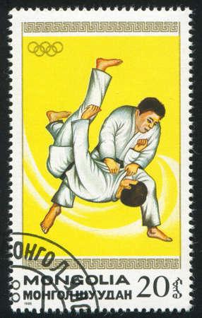 MONGOLIA - CIRCA 1988: stamp printed by Mongolia, shows  judo, circa 1988