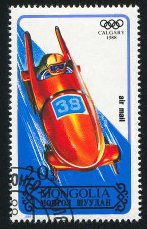 bobsled: MONGOLIA - CIRCA 1988: stamp printed by Mongolia, shows  bobsled, circa 1988 Editorial