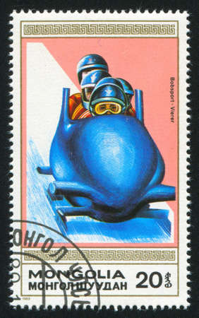 bobsled: MONGOLIA - CIRCA 1989: stamp printed by Mongolia, shows  bobsled, circa 1989
