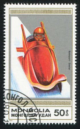 bobsled: MONGOLIA - CIRCA 1989: stamp printed by Mongolia, shows  bobsled, circa 1989