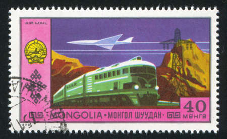 MONGOLIA - CIRCA 1972: stamp printed by Mongolia, shows  locomotive, circa 1972 photo