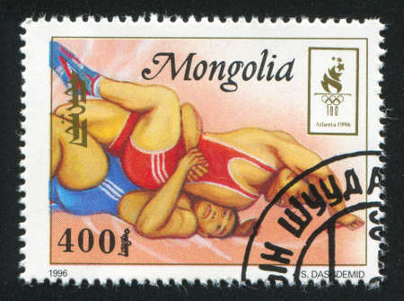 greco roman: MONGOLIA - CIRCA 1996: stamp printed by Mongolia, shows  wrestling, circa 1996
