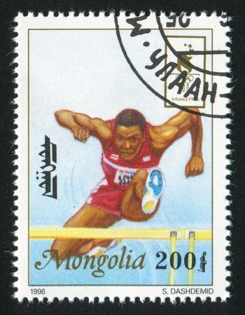 MONGOLIA - CIRCA 1996: stamp printed by Mongolia, shows runner, circa 1996
