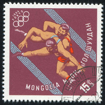 greco roman: MONGOLIA - CIRCA 1964: stamp printed by Mongolia, shows  wrestling, circa 1964 Editorial