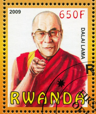 RWANDA - CIRCA 2009: stamp printed by Rwanda, shows Dalai Lama, circa 2009
