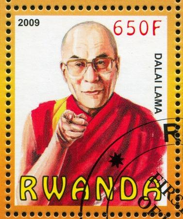lama: RWANDA - CIRCA 2009: stamp printed by Rwanda, shows Dalai Lama, circa 2009 Editorial