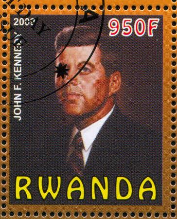 john fitzgerald kennedy: RWANDA - CIRCA 2009: stamp printed by Rwanda, shows John Fitzgerald Kennedy, circa 2009 Editorial