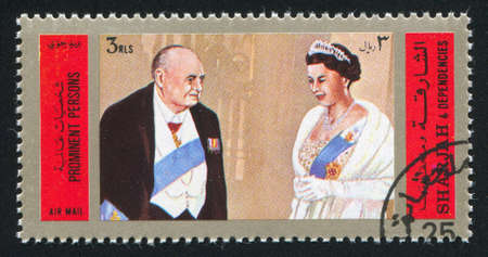SHARJAH AND DEPENDENCIES  - CIRCA 1970: stamp printed by Sharjah, show Winston Leonard Spencer-Churchill, circa 1970.