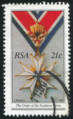 SOUTH AFRICA - CIRCA 1990: stamp printed by South Africa, shows Order of the Southern Cross, circa 1990 Stock Photo - 12354839