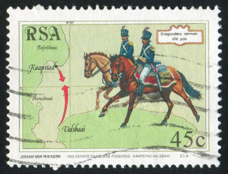 SOUTH AFRICA - CIRCA 1993: stamp printed by South Africa, shows Dragoons, circa 1993 photo