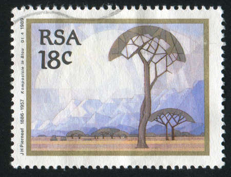 SOUTH AFRICA - CIRCA 1989: stamp printed by South Africa, shows Composition in Blue, by Jacob Hendrik Pierneef, circa 1989 Stock Photo - 12395441