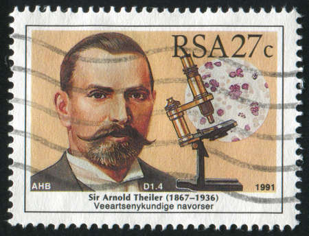 SOUTH AFRICA - CIRCA 1991: stamp printed by South Africa, shows Arnold Theiler, veterinarian, circa 1991