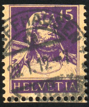 SWITZERLAND - CIRCA 1909: stamp printed by Switzerland, shows William Tell, circa 1909 Stock Photo - 12339832