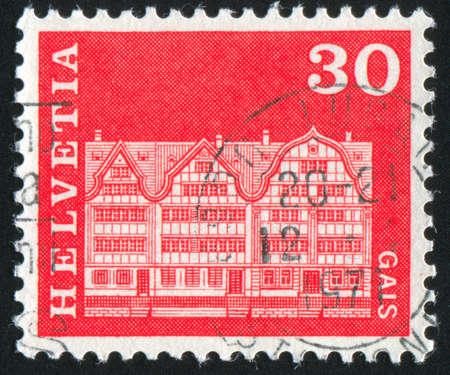 gabled: SWITZERLAND - CIRCA 1968: stamp printed by Switzerland, shows Gabled houses, Gais, circa 1968 Stock Photo