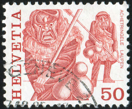SWITZERLAND - CIRCA 1984: stamp printed by Switzerland, shows Masked men, Laupen, circa 1984