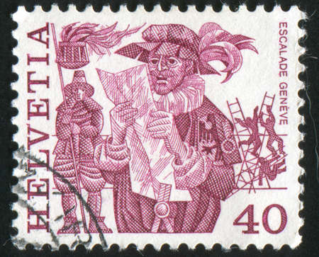 herald: SWITZERLAND - CIRCA 1979: stamp printed by Switzerland, shows Herald reading proclamation and men, circa 1979