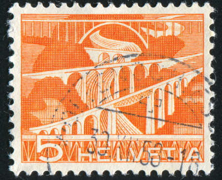 viaducts: SWITZERLAND - CIRCA 1949: stamp printed by Switzerland, shows Viaducts, circa 1949